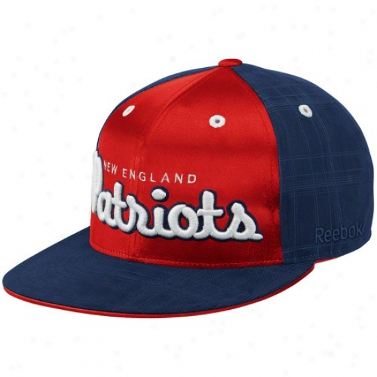 New England Patriot Caps : Reebok New England Patriot Navy Bue-red Fashion Flat Bill Fitted Caps