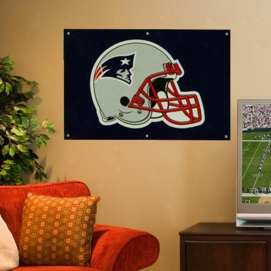 New England Patriot Flags : New England Patriot 2' X 3' Ships of war Blue Applique Logo Fan Flags