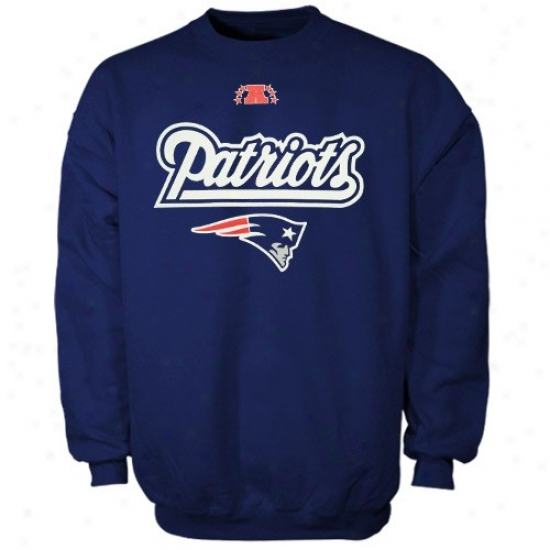 New England Patriot Fleece : New England Patriot Navy Blue Critical Victory Iii Crew Fleece