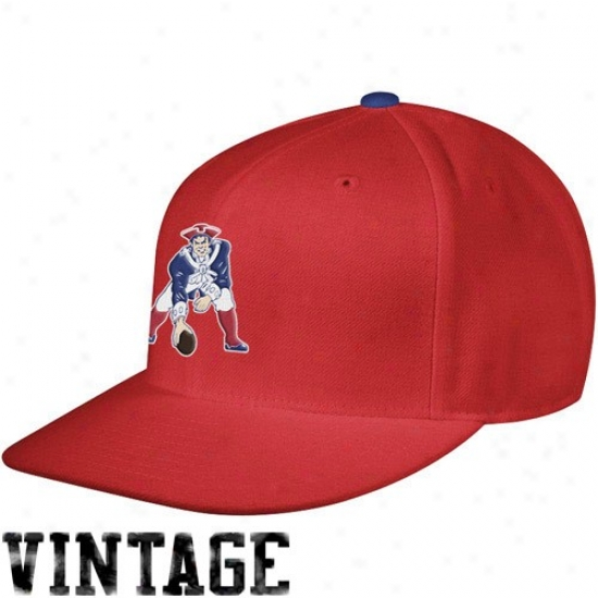 New England Patriot Gear: Mitchell & Ness New England Patriot Red Vintage Logo Fitted Hat