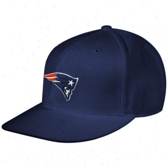 New England Patriot Gear: Reebok Novel England Patriot Navy Blue Sideline Flat Bill Fitted Hat