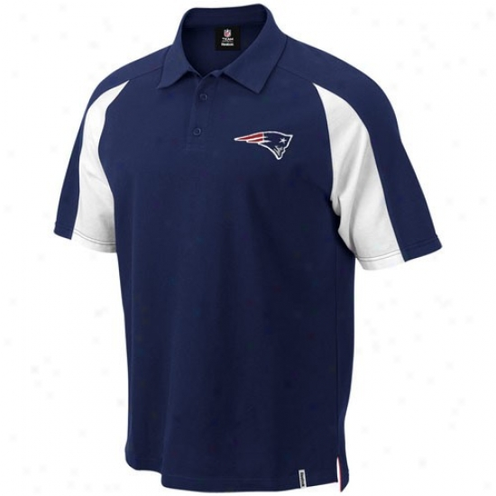 New England Patriot Golf Shirts : Reebok New England Patriot Navy Melancholy Stealth Pique Golf Shirts