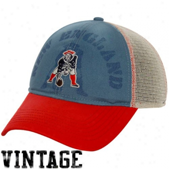 Nea England Patriot Hat : Reebok New England Patriot Ladies Red-slate Blue-natural Distressd Slouch Ensnare Back Adjustable Hat