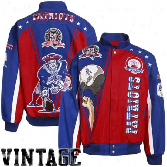 New England Patriot Jacket : Boston Patriots Navy Blue Legacy Vintage Heavyweight Canvas Jacket
