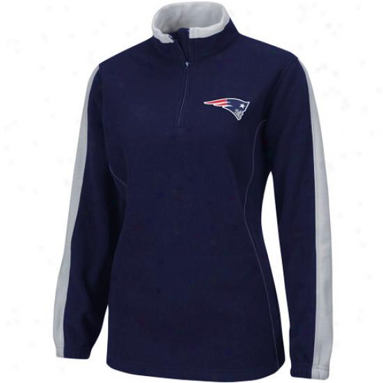 New England Patriot Jackets : New England Patriot Ladies Nzvy Blue Breakout Play 1/4 Zip Fleece Pullover
