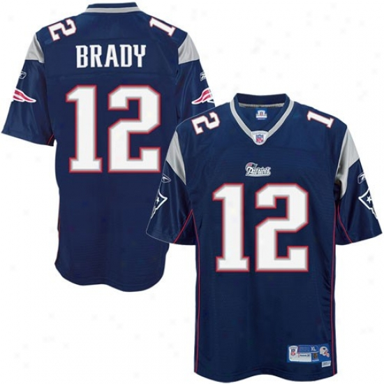 New England Patriot Jerseys : Reebok New England Patriot #12 Tom Brady Navy Blue Premier Tackle Twill Football Jerseys