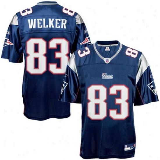 New England Pattiit Jerseys : Rerbok New England Patriot #83 Wes Welker Navy Blue Autograph copy Football Jerseys