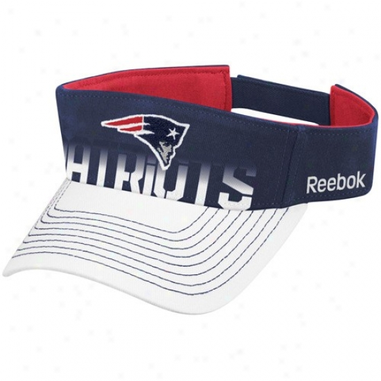 New England Patriot Merchandise: Reebok New England Patriot Navy Blue-whit Players Visor