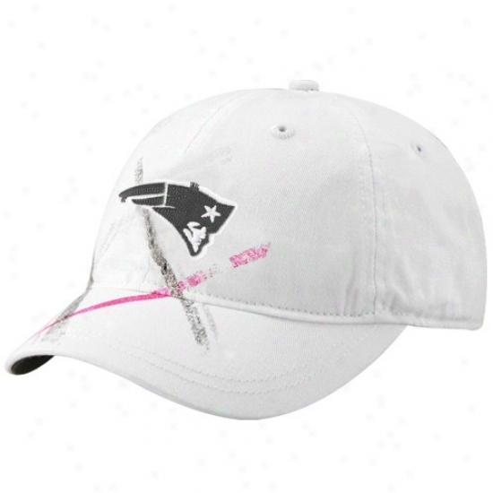 New England Pa5riot Merchandise: Reebok New England Patriot Ladies White Pink Plaid Adjustable Slouch Hat