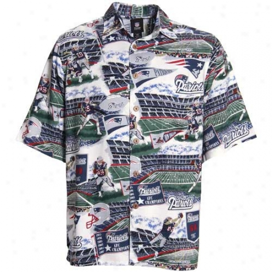 New England Patriot Polos : Reyn Spooner New England Patriot Navy Blue Scenic Print Hawaiian Button-up Shirt