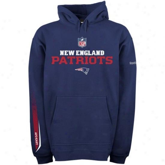 New England Patriot Stuff: Reebok New England Patriot Na\/y Blue Optimus Hoody Sweatshirt