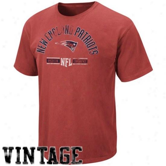 New England Patriot T Shirt : New England Patriot Red Vintage Stadium Impair T Shirt