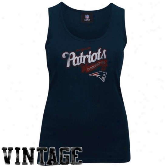 New England Patriot T Shirt : New England Patriot Ladies Navy Blue Play Time Vintage Tank Top