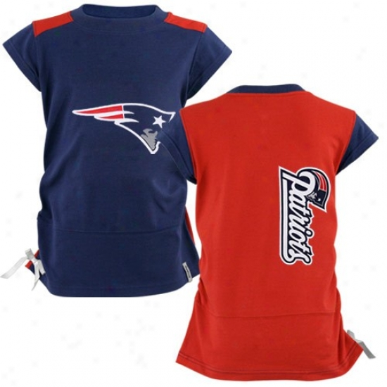 New England Patriot T Shirt : Reebok New England Patriot Youth Girls Navy Blue-red Harmony T Shirt