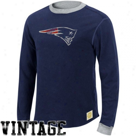 New England Patriot T Shirt : Ree6ok New England Partiot Ships Blue-ash Reversible Double Knit Slow Sleeve Vintage T Shirt