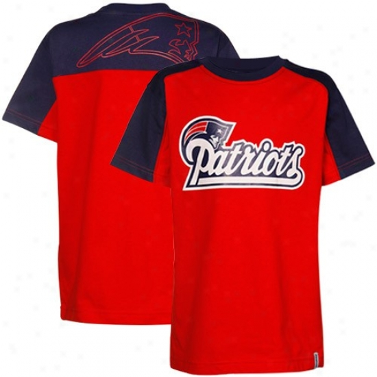 New England Patriot Tees : Reebok New England Patriot Youth Red-navy Bllue Draft Pick Tees
