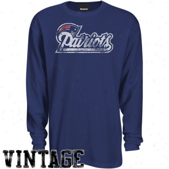 New England Patriot Tees : Reebok New England Patriot Navy Blue Faded Wordmark Long Sleeve Vintage Premium Thermal Tees