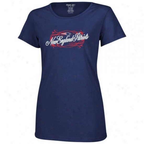 New England Patriot Tees : Reebok New England Patriot Ladies Navy Blue Jennifer Slim Fit Tees