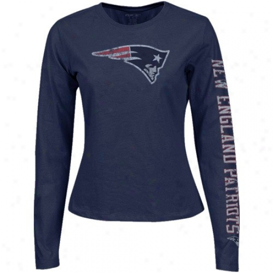 New England Patriot Tshirts : Reebok New England Patriot Navy Blue Ladies Giant Logo Too Long Sleeve Tshirts