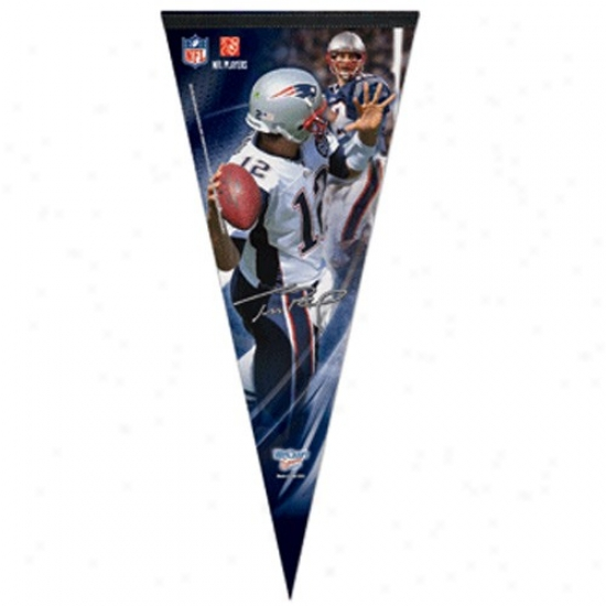 New England Patriots #12 Tom Brady 17'' X 40'' Premium Fekt Pllayer Pendant
