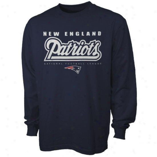 New England Patriots Apparel: New England Patriots Navy Blue Critical Conquest Long Sleeve T-xhirt