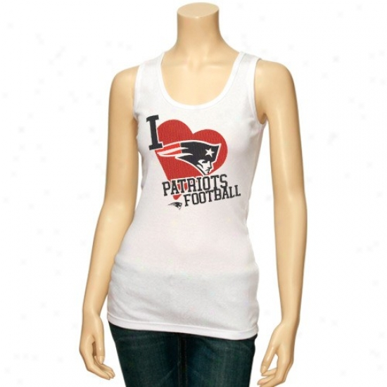 Neew England Patriots Apparel: Reebok New England Patriots Ladies White Scrapbook Love Tank Top