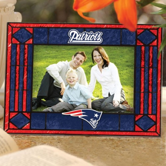 New England Patriots Art-glass Horizontal Picture Frmae