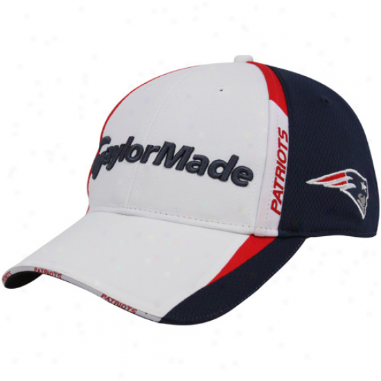New England Patriots Cap : Taylormade New England Patriots White-navy Blue 2010 Nfl Golf Ajustabld Cap