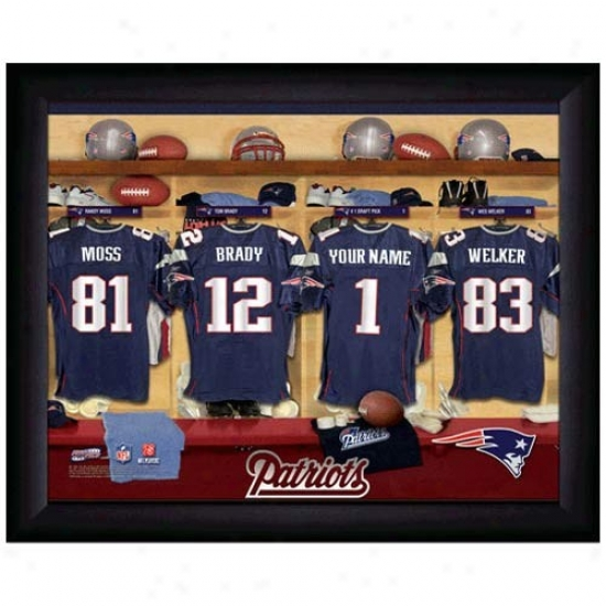 New England Patriots Customized Locker Room Black Framed Photo