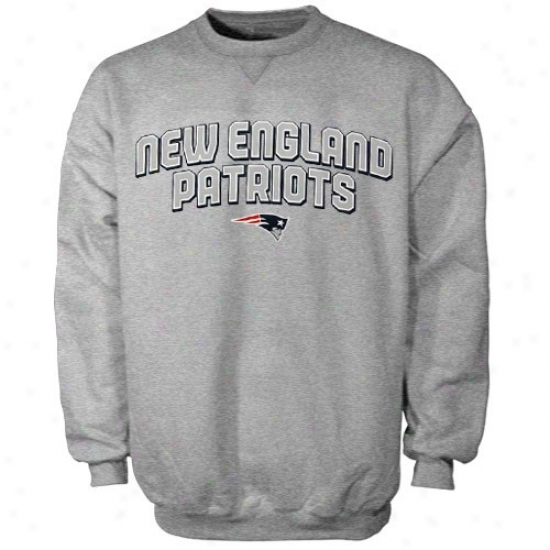 New England Patriots Fleece : Reebok New England Patriots Ash Double Arch Crew Fleece