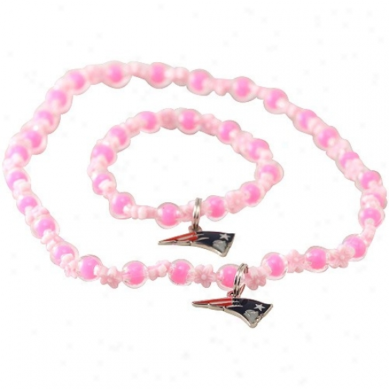 New England Patriots Girls Pink Sophie Beaded Team Logo Bracelet & Necklace Set