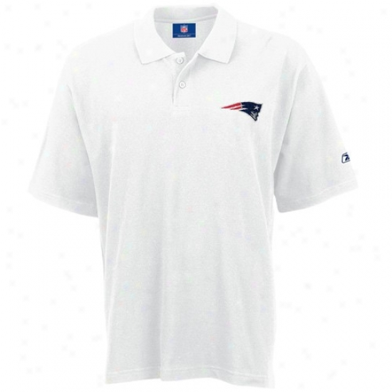 New England Patriots Golf Shirt : Reebok New England Patriots White Pique Golf Shirt