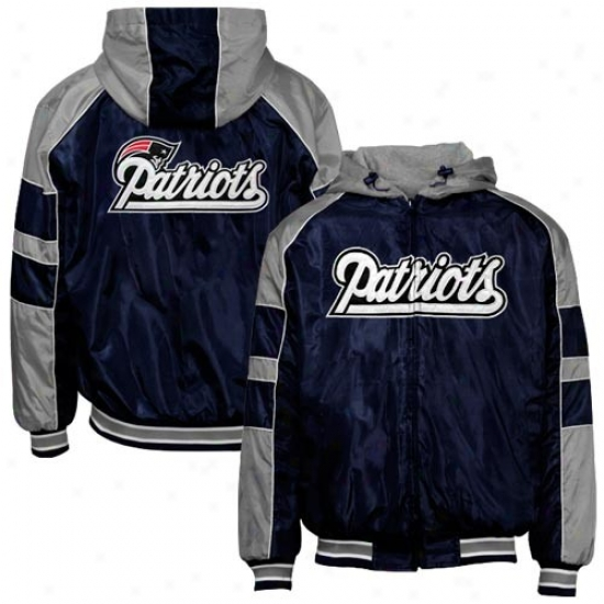 New England Patriots Jackets : New England Patriots Navy Blue Reversible Full Zip Hooody Jackets