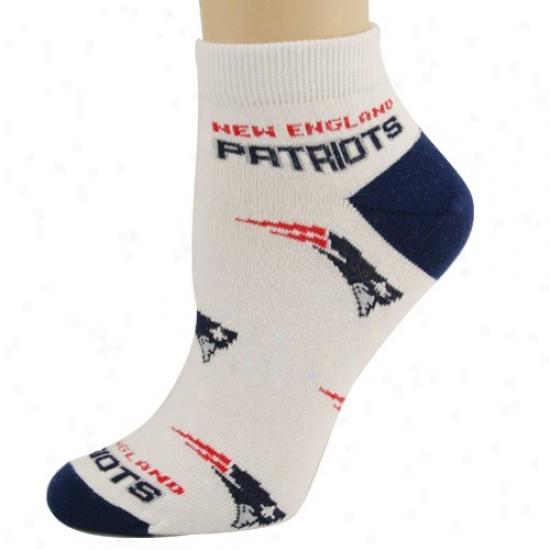 New England Patriots Ladies White 6-11 Team Logo Ankle Soxks