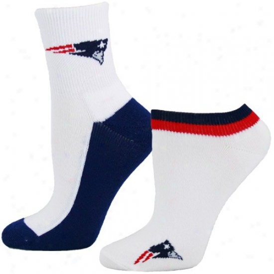 New England Patriots Ladies White Quarter & Footie 2-pack Socks