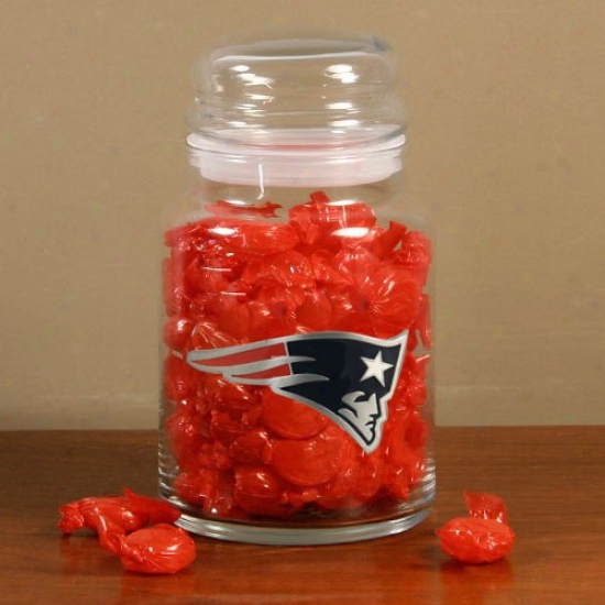New England Patriots Large Glass Candy Jar