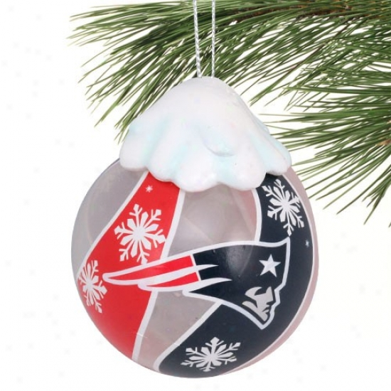 New England Patriots Light-up Glass Ornament