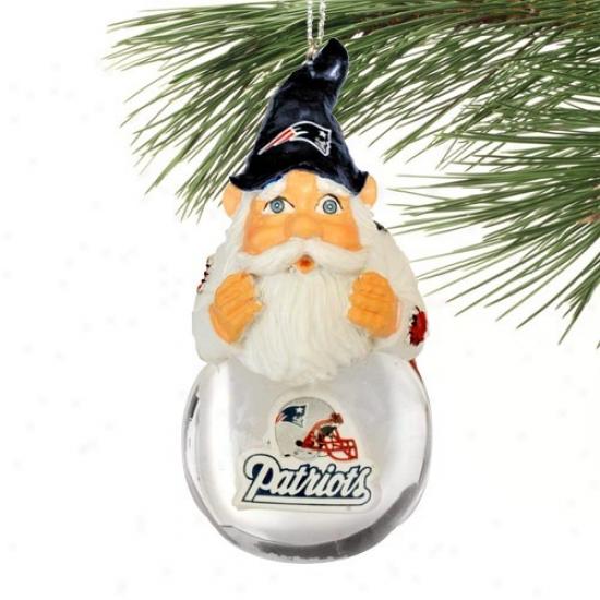 New England Patriots Light-up Gnome Snowglobe Christmas Ornament