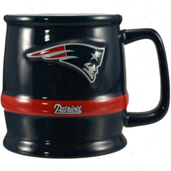 New England Patriots Navy Barrel Mug