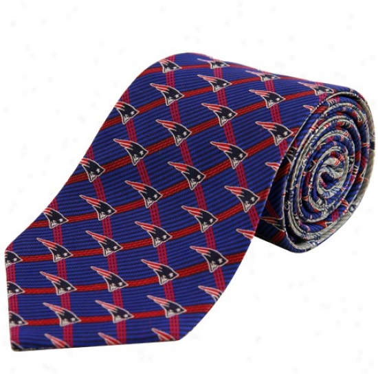 Unaccustomed England Patriots Navy Blue-gray Home And Away Reversible Silk Necktie