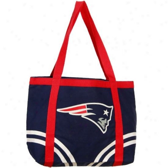 New England Patriots Ships Blue Large Canvas Tote Bag