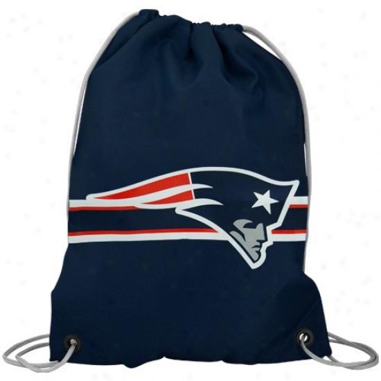 New England Patriots Navy Blue Nylon Drawstring Backpack