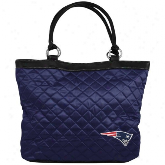 New England Patriots Ships of war Blue Quulted Tote Bag