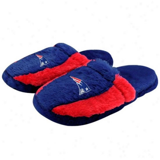 New England Patriots Navy Blue-red Plush Slide Slippers