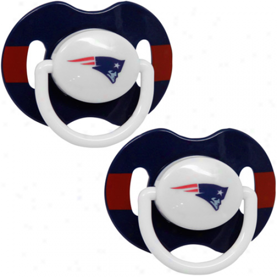 New England Patriots Navy Blue-red Striped 2-pack Team Logo Pacifiers