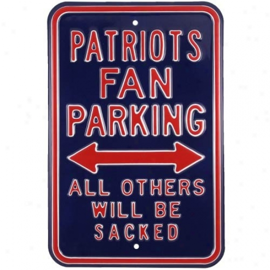 New England Patriots Navy Blue Steel Sacked Parking Sign