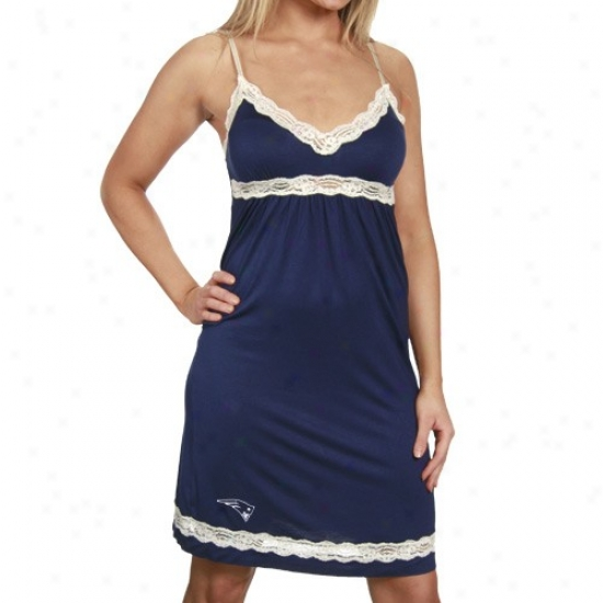 New England Patriots Navy Blue Super-soft Lace Trim Nightgown