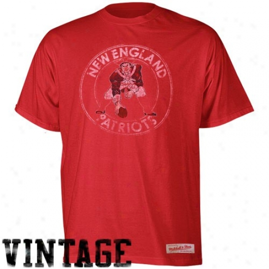 New England Patriots Shirt : Mitchell & Ness New England Patriots Scarlet Vintage Premium Shirt