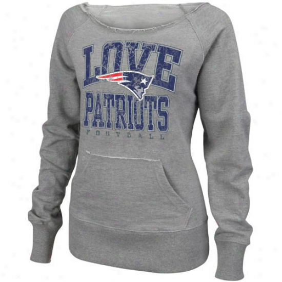 New England Patriots Sweat Shirts : New England Patriots Ladies Ash O.t. Quee nSweat Shirts