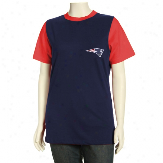 New England Patriots T Shirt : New Englaand Patriots Missy Navy Blue Her Club Premium Ringer T Shirt